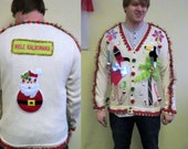 J-365 3-D Pink Flamingo Tacky Ugly Christmas Tropical Delight and total Fun Cardigan  Sweater Unisex Size XL Mens Womens mele kalikimaka