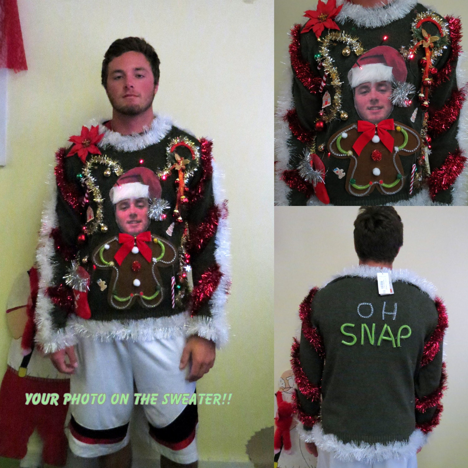 Custom Your Photo Sweater Light up Tacky Ugly Christmas