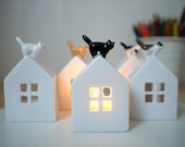 Cat on the roof. Ceramic Candle Holder