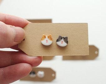 Ceramic Yellow&Gray Tabby Cat Earrings