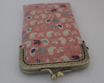 iPhone 6s Sleeve iPhone 6s Pouch Pink Bird Patten Linen Fabric
