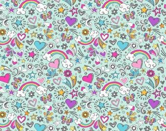 Doodles on polyester swim knit fabric - UK seller