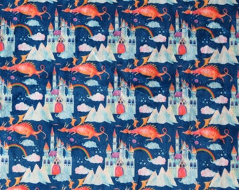 Dragons and Castles on cotton lycra jersey knit fabric - UK seller