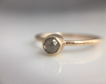 Rose Cut Gray Diamond Hammered Gold Engagement Ring- Thin Gold Band Engagement Ring