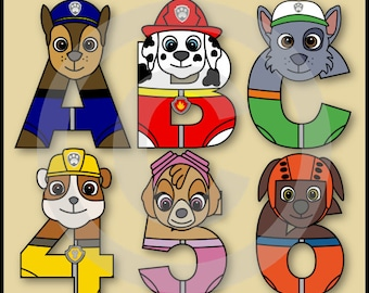 Paw Patrol Alphabet Letters & Numbers Clip Art Graphics