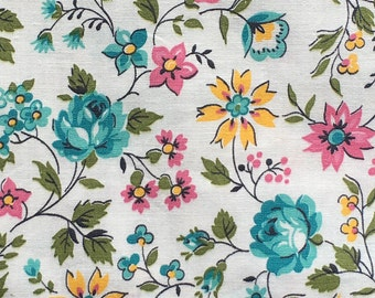 """Vintage Blue Roses, Yellow and Pink Floral Print Cotton Fabric // 1 yard by 35.5"""" > flower sprigs > by the yard"""