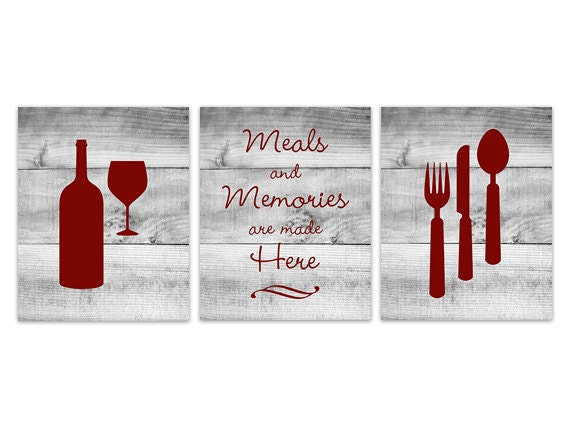 Kitchen Wall Decor In Red : Red kitchen wall art instant download fork spoon knife