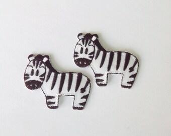 "Set of 2 Pieces Zebra Iron on Patch (1 1/2"" x 1 1/4"")"