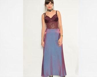 Vintage 90's  Iridescent Maxi Skirt // Blue Red High Waist Skirt - Size Extra Small