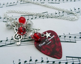 Plectrum charm necklace, red beads, guitar pick, silver music charms Rock'n'Roll Star
