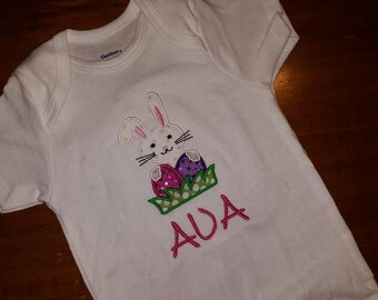 Personalized easter embroidered onesie shirt
