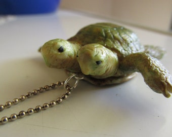 Sea Turtle Necklace,Polymer Clay, Summer Jewelry, Handmade, Hand Sculpted, Pendant Necklace, Two Headed Turtle, Oddity