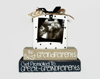 The Best Grandparents Get Promoted To Great Grandparents custom pregnancy announcement, great grandma to be gift, pregnancy reveal, sonogram