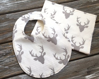 Bib/Burp Cloth Combo/Gift Set ~ Nature//Outdoors//Buck//Forest//Antlers//Gender Neutral//Hunting