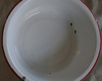 1930 White And Red Enameled Metal Bowl