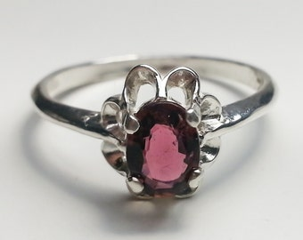Natural Pink Tourmaline Sterling Silver Ring .69 ct Size 8