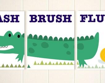 Kids bathroom art, alligator bathroom art, brush wash flush, crocodile bathroom, children wall art, alligator, set of 3