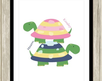 Brother sister wall art, turtle wall art, kids bathroom art, turtle nursery, twins wall art, playroom awl art, custom colors