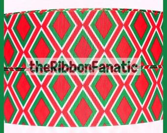 """5 yds 1.5"""" Christmas Diamond Argyle Red Emerald Green White Grosgrain Ribbon"""