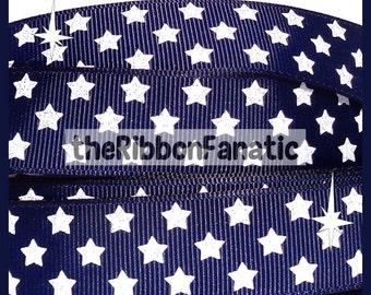 """5 yds 7/8"""" White GLITTER Stars on Navy Blue Grosgrain Ribbon"""