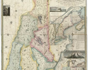 New Hampshire 1816 State Map - Philip Carrigain - a very nice map