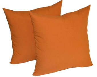"SET OF 2 ~  24"" Large Elegant Harvest Orange Decorative Throw Pillows ~ Indoor / Outdoor Fabric"