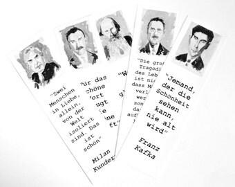 Authors bookmarks set Thomas Mann Franz Kafka Lev Tolstoi William Somerset Maugham Milan Kundera writer bookmark art in GERMAN auf DEUTSCH