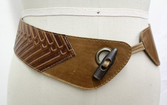 SALE - NOUVEAU WESTERN - tall leather belt for waist, for women - tan brown
