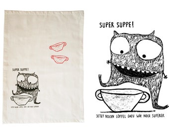 Soup monster, dish cloth, organic cotton. Screen printed by hand.