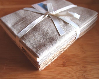 FQ Fat quarter pack of natural fabrics - linen, cotton, hessian etc suitable for sewing and crafting