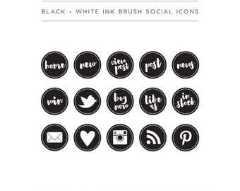 Black + White Social Media Buttons
