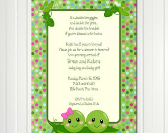 Pea Pod Invitation, Peas in a Pod Invitation, Pea Pod Baby Shower, Sweet Pea Invitation, Sweet Pea Baby Shower, Green Pea, POLKA DOT PEAS
