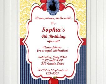 Snow White Invitation Birthday Party Custom Personalized Invitation Digital File Download