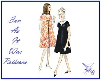 1960s Vogue 7033 Mini Mod A-Line Trapeze Dress Invert Pleat Maternity Short Sleeves Scoop Neckline Vintage Sewing Pattern Size 14 Bust 34