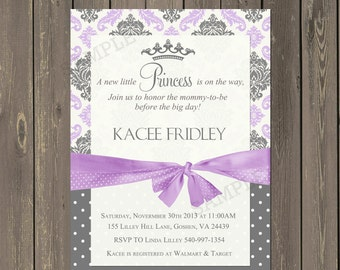Princess Baby Shower Invitation, Lavender and Grey Damask Princess Invitation, Baby Girl Shower Invitation, Printable or Printed
