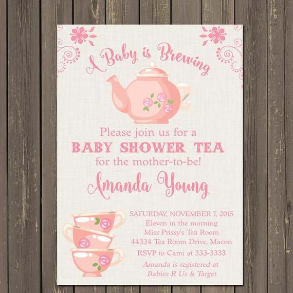 tea party baby shower invitation, baby is brewing shower, Baby shower invitation
