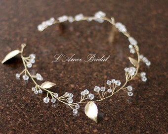 Golden Goddess Wedding Crown Circlet Wreath with Golden Leaves and Crystal Glass Elements