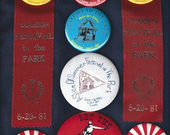 8 Vintage 70s 80s Clarion IA Festival in the Park Cowboys Prairie Days Badges