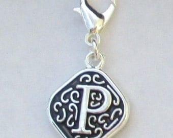 Vintage  Letter P  Dangle  Lobster Claw for Necklace - Bracelets - Key Chains