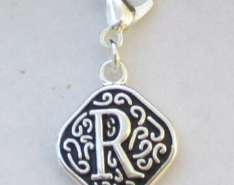 Vintage  Letter R  Dangle  Lobster Claw for Necklace - Bracelets - Key Chains