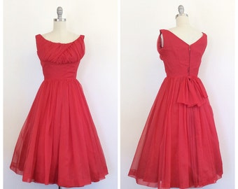 50s Lorrie Deb Cherry Red Fit and Flare Party Dress / 1950s Vintage Ruched Bodice Full Skirt Bow Back Prom Dress / Small / Size  6
