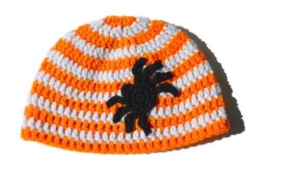 Orange and White Striped Spider Hat, Spider Applique, Crochet Halloween Beanie, Fall Beanie, Baby - Adult, Spider Hat, Toddler Fall Hat Knit