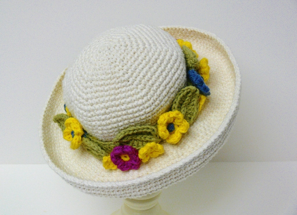 Crochet Pattern Girls Hat Easter Hat Sun Hat Summer