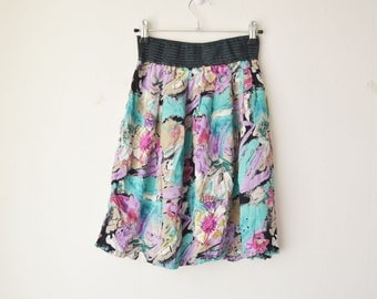 abstract print high waisted mini cotton skirt vintage 80s 90s // S-M