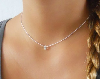 Dainty Sterling Silver Necklace With A Swarovski Drop Bead, Silver Collar, Choker Necklace, Layering Necklace, Silver Necklace, #306