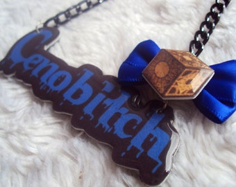 Cenobitch Necklace, MADE TO ORDER, Hellraiser Pinhead, cenobites, horror, spooky, cute