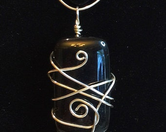 Pendant - Black and Silver Wire Wrapped Pendant - FREE SHIPPING