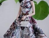 vintage turndown collar dress with bag for Silkstone Barbie by SL Doll Fashion