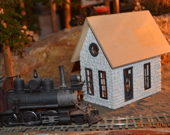 O/On3/On30 Scale Stone Railroad Branchline Depot 1:48 Railway Depot RR Building Kit