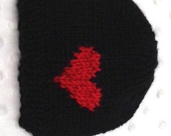 Black Valentine Baby Hat - Baby Boy Valentine Hat - Black Red Heart Baby Hat - Valentine Newborn Prop